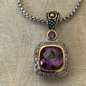 "18"" cushion cut amethyst pendant silver necklace"